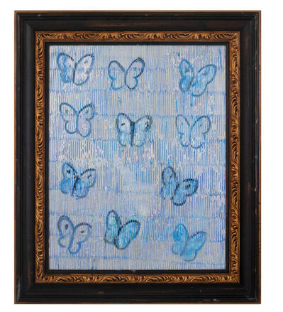 Hunt Slonem, 'Butterflies on blue and silver', 2019