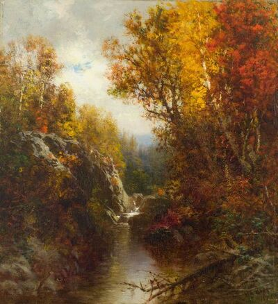 William M. Hart, 'Waterfall in the Woods', 1877