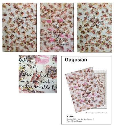 """Dan Colen, '3-Piece Set- """"Rock ! Paper ! Scissors ! Shit !"""", Boxed Puzzles Covers SIGNED/ INSCRIBED & KISSES, Each UNIQUE, Provenance Gagosian ', 2007"""