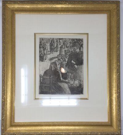 """Camille Pissarro, '""""Marche Aux Legumes, A Pontoise"""" or """"Vegetable Market in Pontoise""""', Delteil 97-c. 1891."""