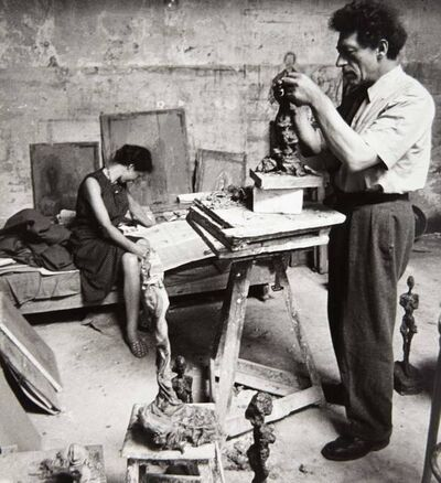Alexander Liberman, '[Alberto and Anette Giacometti in his Paris Studio]', 1954
