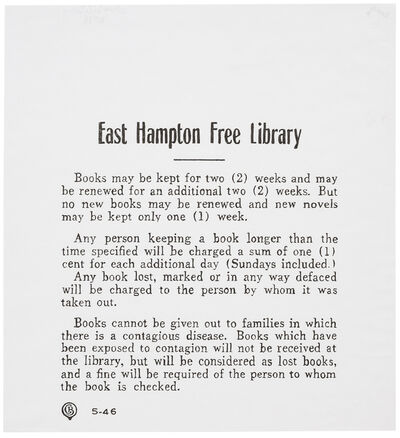 Charles LeDray, 'East Hampton Free Library (Rules)', 2018