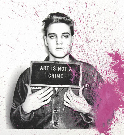 Mr. Brainwash, 'Happy Birthday Elvis! - Jailhouse Pop (Pink Splash)', 2019