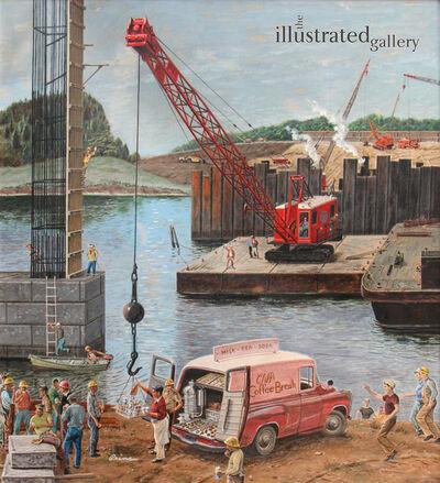 Benjamin Prins, 'Bridge Construction, Saturday Evening Post Cover', 1957