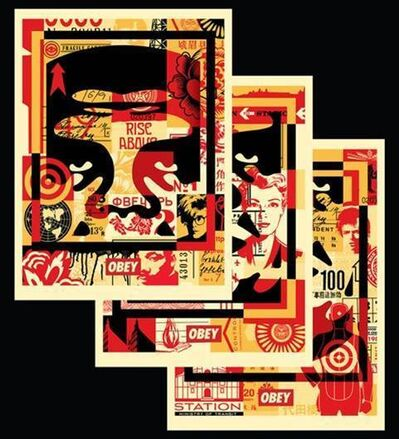 Shepard Fairey, 'Obey 3 Face Collage (Offset poster Set)', 2016