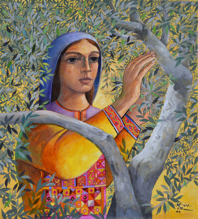 Sliman Mansour, 'Woman Picking Olives', 2018