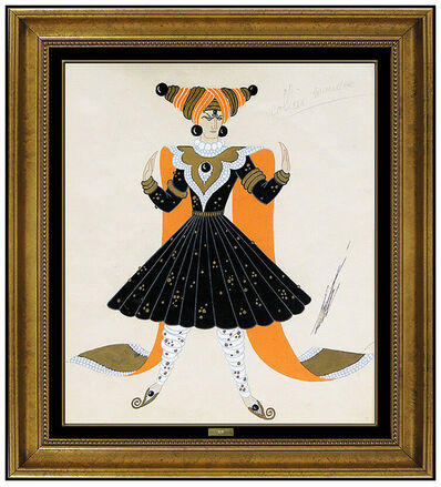 Erté (Romain de Tirtoff), 'Erte Original Gouache Painting Signed Costume Dress Design Necklace Deco Artwork', 20th Century
