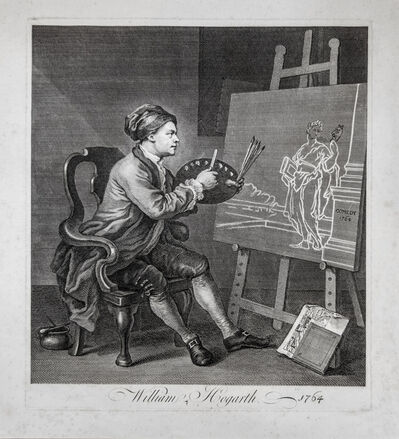 William Hogarth, 'Hogarth Painting the Comic Muse', 1758-changed to 1764 in this state