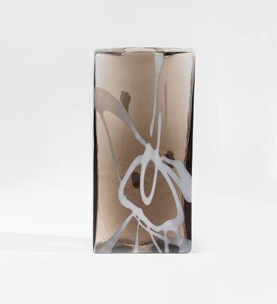 Fulvio Bianconi, 'A sperimental rectangular blown glass vase with lattimo applications', 1980 ca