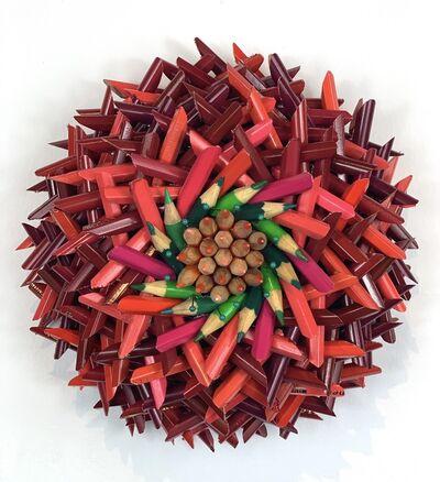 Federico Uribe, 'Dark Pink/Red Flower, Pink/Green Pencil Center', 2021