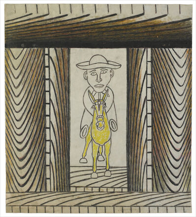 Martín Ramírez, 'Untitled (Man Riding Yellow Donkey)', C. 1960-63