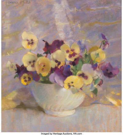 Laura Coombs Hills, 'Bowl of Pansies'