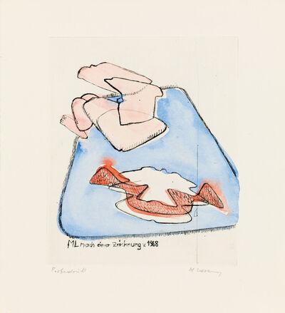 Maria Lassnig, 'ML nach einer Zeichnung v. 1968', 1987