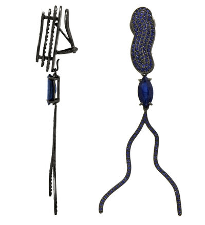 William Ehrlich, 'Calm Link / Victoria Earrings with Sapphire Drops'