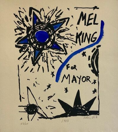 Katherine Porter, 'Abstract Expressionist Watercolor Painting Woodblock Political Poster Mel King ', 1980-1989
