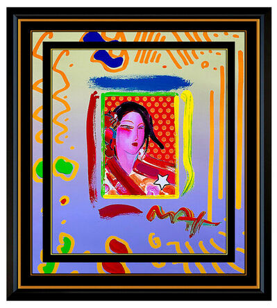 Peter Max, 'PETER MAX Acrylic PAINTING Original ASIA Signed POP ART Blushing Beauty Profile', 1990-1999