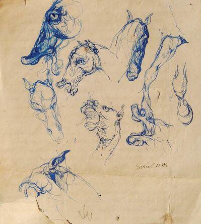 "Sunil Das, 'Horse Doodles, Pen & Ink on Paper by Padma Shree Artist Sunil Das ""In Stock""'"