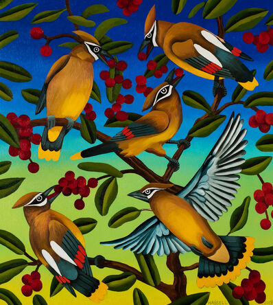 Billy Hassell, 'Cedar Waxwings and Berries', 2019