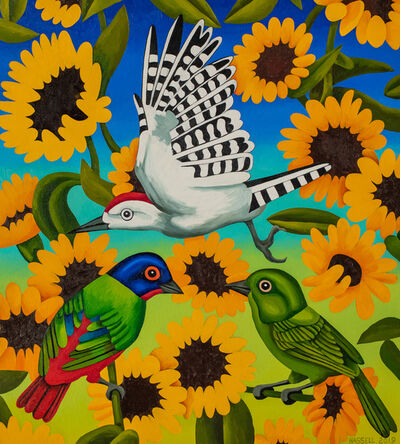 Billy Hassell, 'Painted Buntings and Sunflowers', 2019