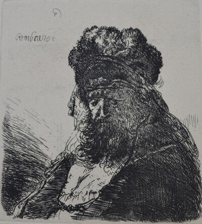 Rembrandt van Rijn, 'Old Bearded Man in a High Fur Cap, with Eyes Closed', Etched c. 1635, Printed in 1906 (Beaumont, Paris)