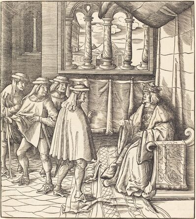 Leonhard Beck, 'A King on a Throne, before him Four Men', 1514/1516