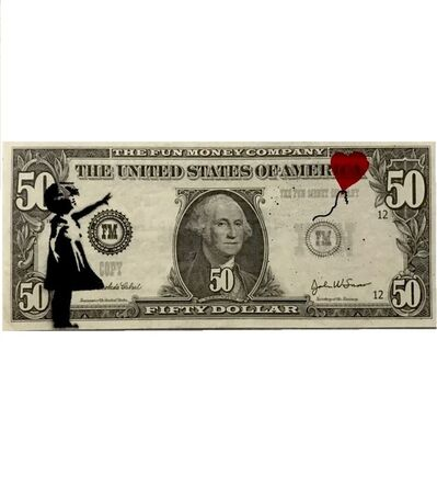 Banksy, 'Girl with Balloon on Bank note (Dismaland Souvenir)', 2018
