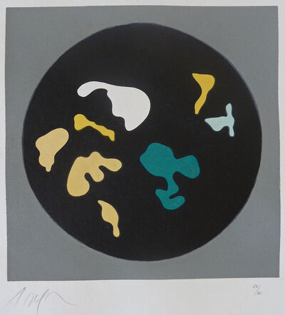 Hans Arp, 'Untitled, from Le Soleil Recerclé, (Black circle small shapes)', 1962
