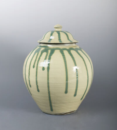 Onda Yaki, 'Jar with Poured Green Glaze over White Ground ', n/a