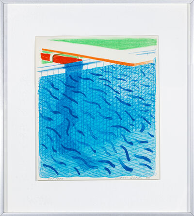 "David Hockney, 'Pool Made with Paper and Blue Ink, with book ""Paper Pools""', 1980"