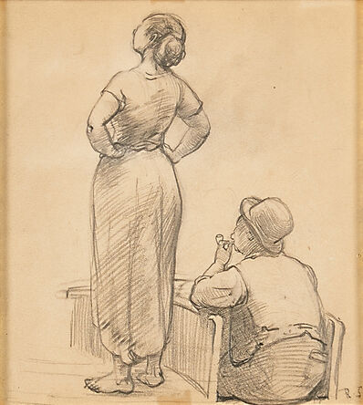 Robert Spencer, 'Untitled (Study of a Woman and Canal Boatman)'