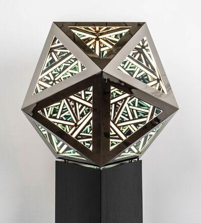 "Anthony James, '24"" Icosahedron (Bright Nickel) ', 2020"