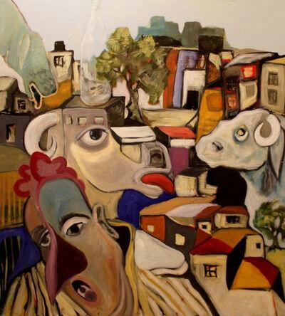 Bashir Qonqar, 'Chicken head with sheep's and a bottle', 2019