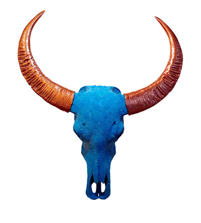Angela Morris-Winmill, 'Teal Diamond Dust Chinese Water Buffalo Skull with Copper Horns ', 2019