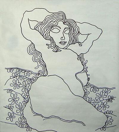 Prokash Karmakar, 'Nude Lady with flowers, Ink on canvas, figurative by Master Indian Artist Prakash Karmakar', 2005