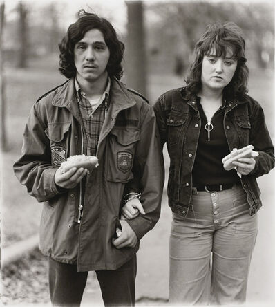 Diane Arbus, 'A young man and his girlfriend with hot dogs in the park, N.Y.C. 1971', 1971