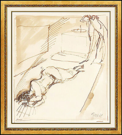 George Grosz, 'George Grosz Original Watercolor Painting Signed Nude Female Illustration Art', 1913-1914