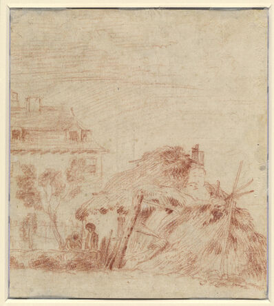 Jean-Antoine Watteau, 'View of a House, a Cottage, and Two Figures [verso]', 1718/1719