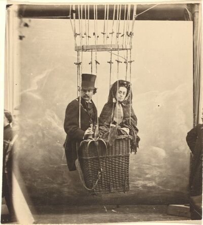 Nadar, 'Self-Portrait with Wife Ernestine in a Balloon Gondola', ca. 1865