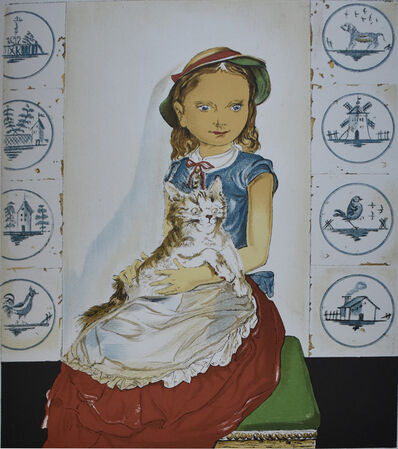 Léonard Tsugouharu Foujita, ' Young girl sitting with a cat | Jeune fille assise avec un chat', 1956