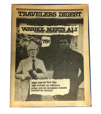 "Andy Warhol, '""Warhol Meets Mohamed Ali"", Travelers Digest NYC, Vol 1 No 2.', 1977"