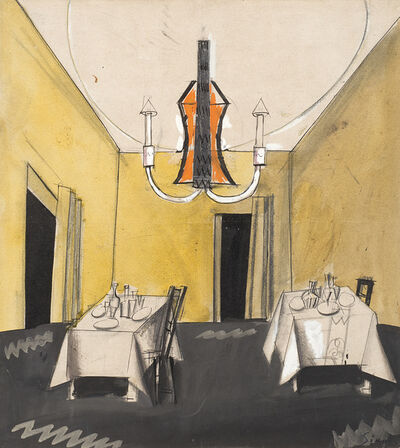 """Mario Sironi, '""""Probabile bozzetto per la scenografia di """"Marionette, che passione!"""" di Rosso di San Secondo""""', 1924"""