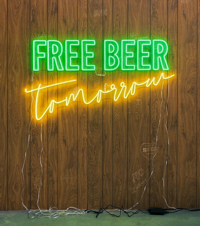Wendy White, 'Free Beer Tomorrow (green, yellow)', 2019