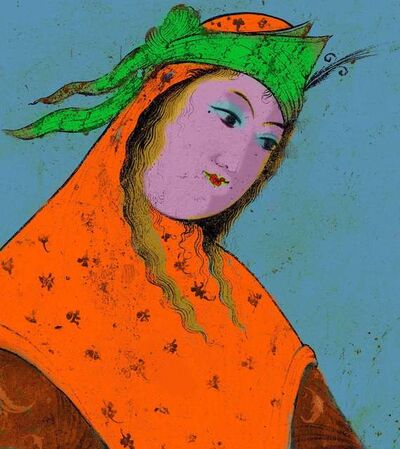Hojat Amani, 'Safavid Cheeky Face with Scarf', ca. 2012