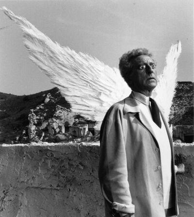 Lucien Clergue, 'Jean Cocteau et les ailes du sphinx Testament d'Orphée, Les Baux de Provence', 1959