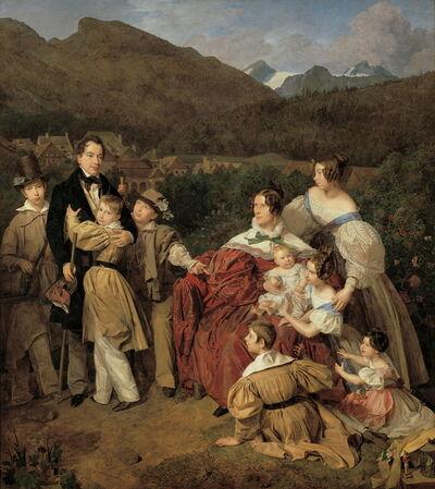 Ferdinand Georg Waldmüller, 'The Notary Dr Josef August Eltz with his Wife Caroline (née Schaumburg) and their Eight Children in Ischl', 1835