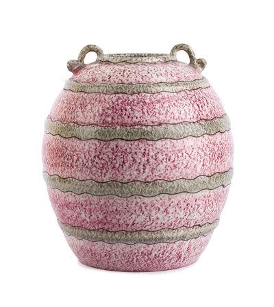 Bartolomeo Rossi, 'Pink and gray wavy striped vase'