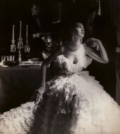 Lillian Bassman, 'In This Year of Lace, Dovima, dress by Jane Derby, The Plaza Hotel, New York, Harper's Bazaar', 1951