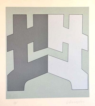 Chryssa Vardea-Mavromichali, '1970's Large Silkscreen Abstract Geometric Greek Serigraph Pop Art Print Neon', 1970-1979