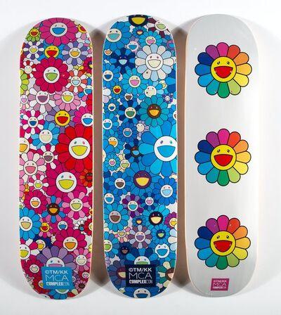 Takashi Murakami x Complexcon, 'Multi Flower 8.0 Skate Decks (Blue, Pink, and White) (three works)', 2017