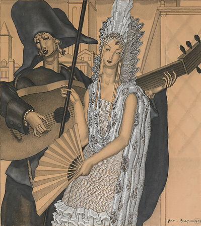 Jean Dupas, 'Untitled (Spanish Noble Woman Standing with Lutist)', 1929